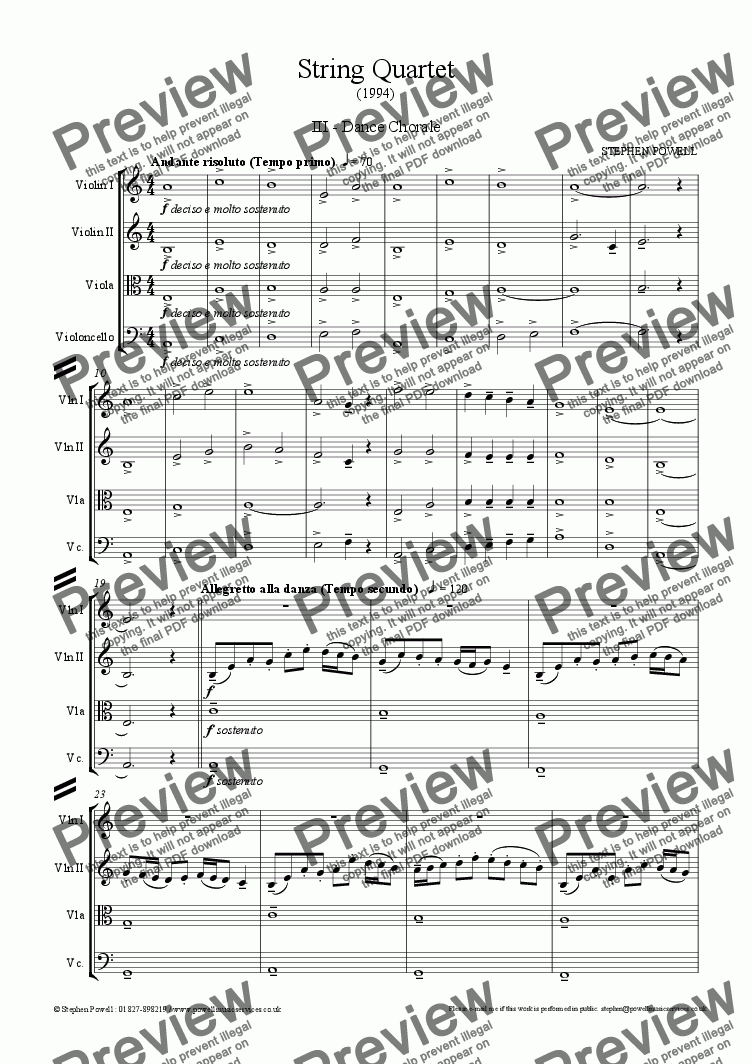 page one of String Quartet (1994) - III. Dance Chorale