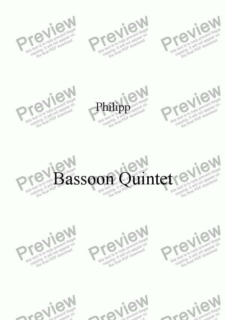 page one of Bassoon Quintet Movement I