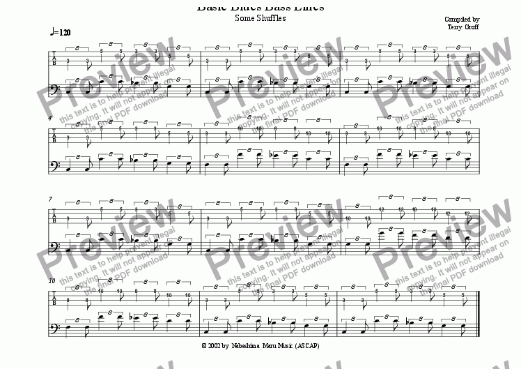 page one of Basic Blues Bass PatternsASALTTEXT