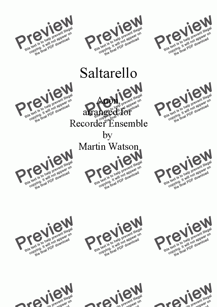page one of Saltarello for Recorder Ensemble