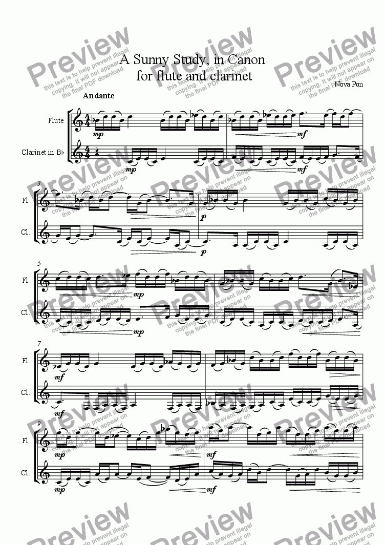 page one of A Sunny Study, in Canon, for flute and clarinet