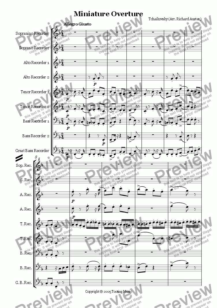 page one of Miniature Overture from Nutcracker Suite (Recorder Ensemble)ASALTTEXT