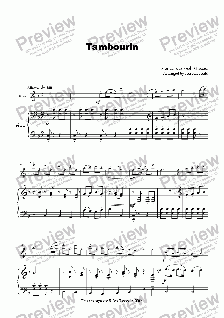 page one of Tambourin (flute/piano)