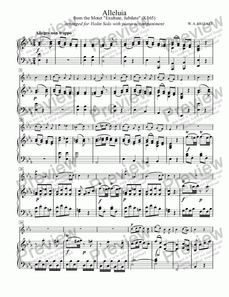 "page one of Alleluia (MOZART), Allegro movement from ""Exsultate, Jubilate"" (K165) for Solo Violin with Piano accompaniment, arr. by Pamela Webb Tubbs"