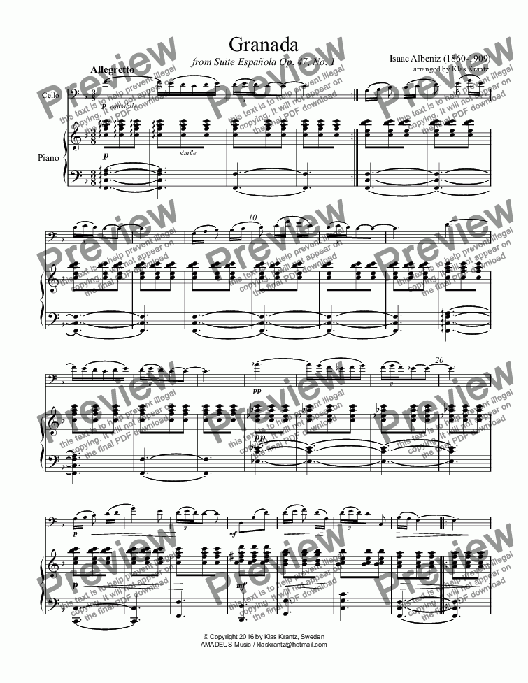 page one of Granada Op. 47 for cello and piano