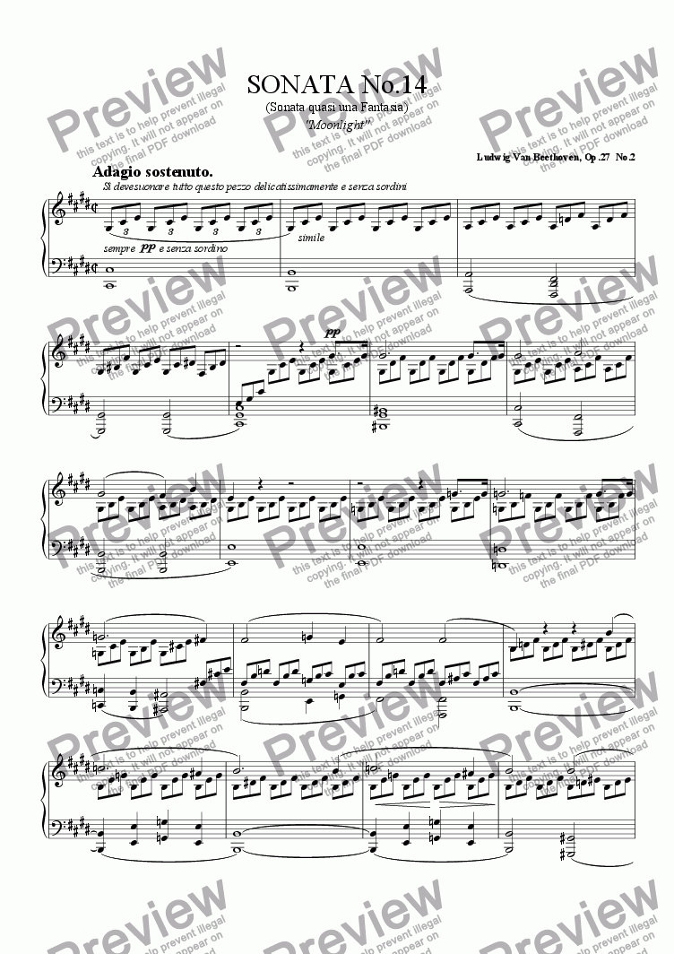 "page one of Piano Sonata No.14""Moonlight"" by L. V. Beethoven"