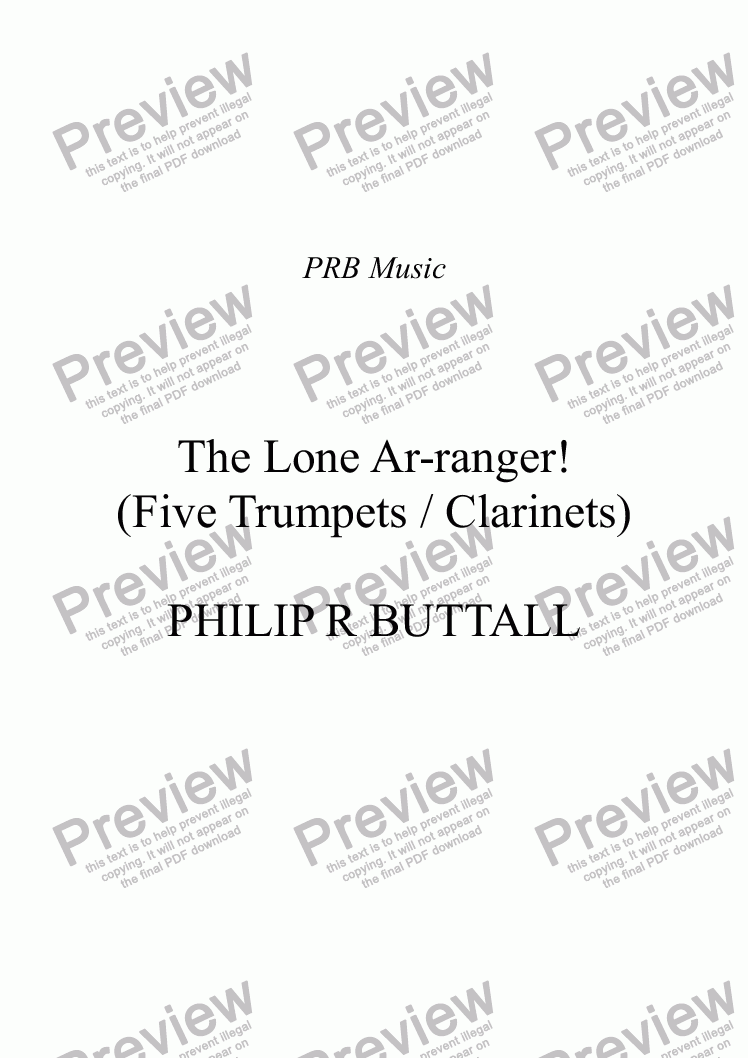 page one of The Lone Ar-ranger! (Five Trumpets / Clarinets)
