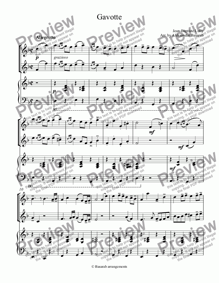 page one of Gavotte in D minor arr. for 2 Flutes & Piano