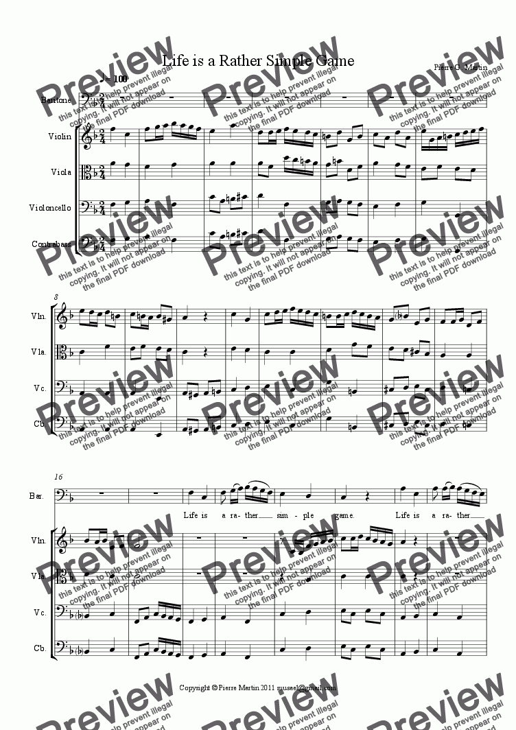 page one of Life is a Rather Simple Game (aria baritone)