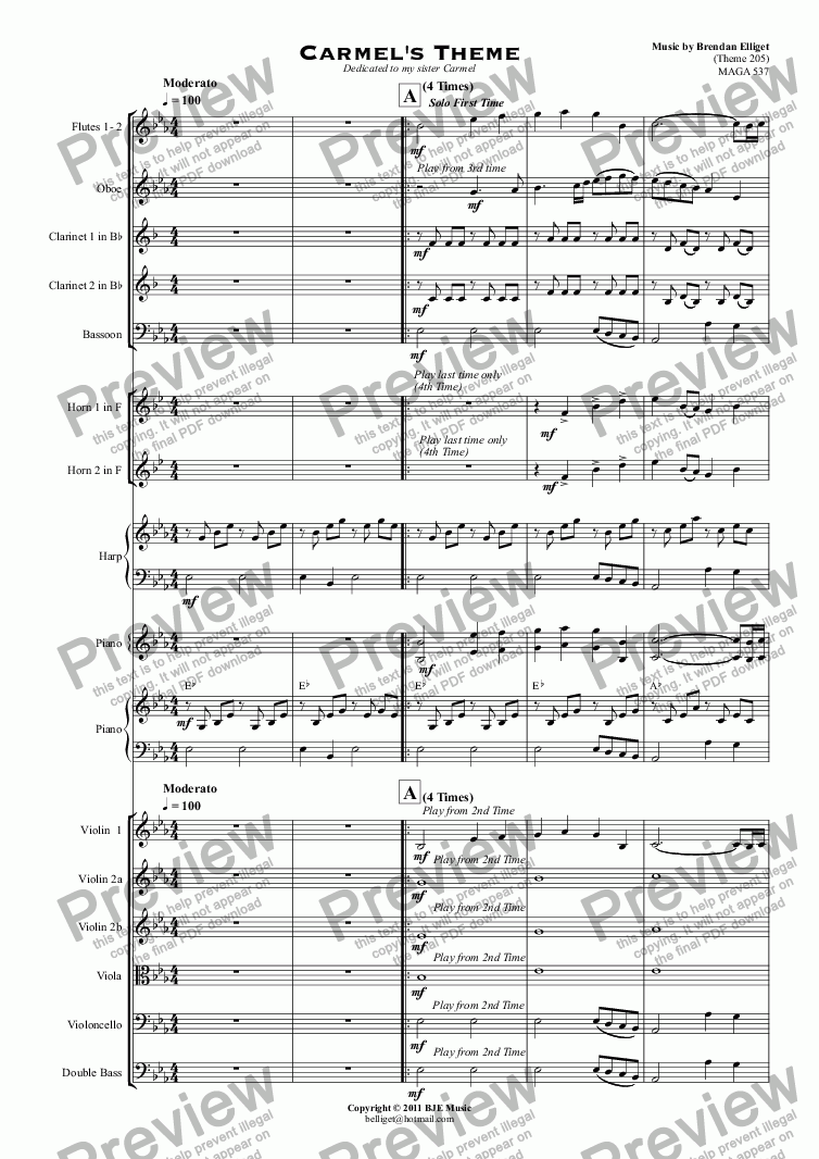page one of Carmel's Theme - Small Orchestra