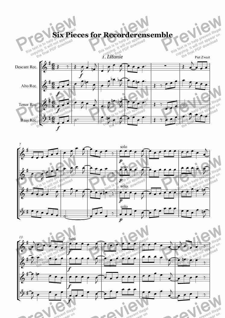 page one of Six Pieces for Recorderensemble
