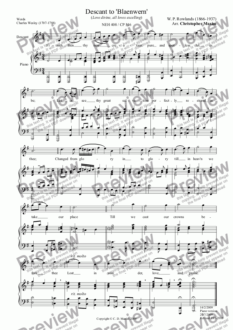 page one of Descant to 'Blaenwern' (Love divine, all loves excelling) PIANO VERSIONASALTTEXT