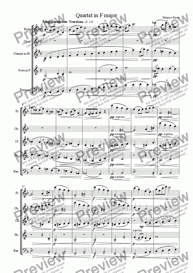page one of String Quartet in F major