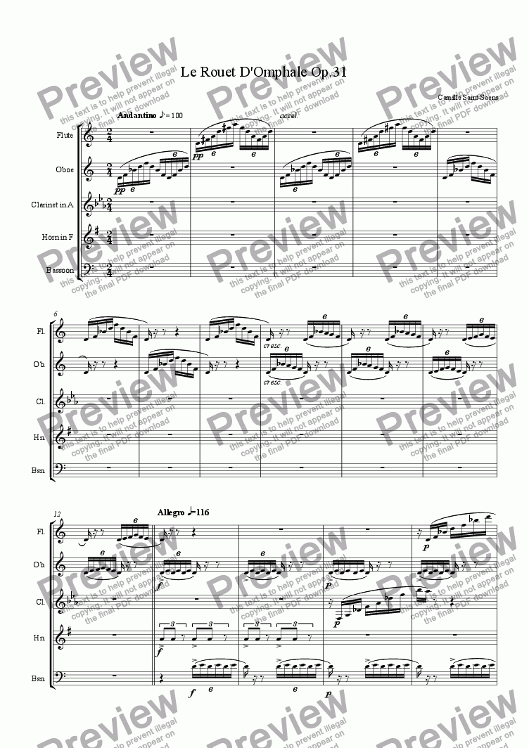 page one of Le Rouet D'Omphale Op.31