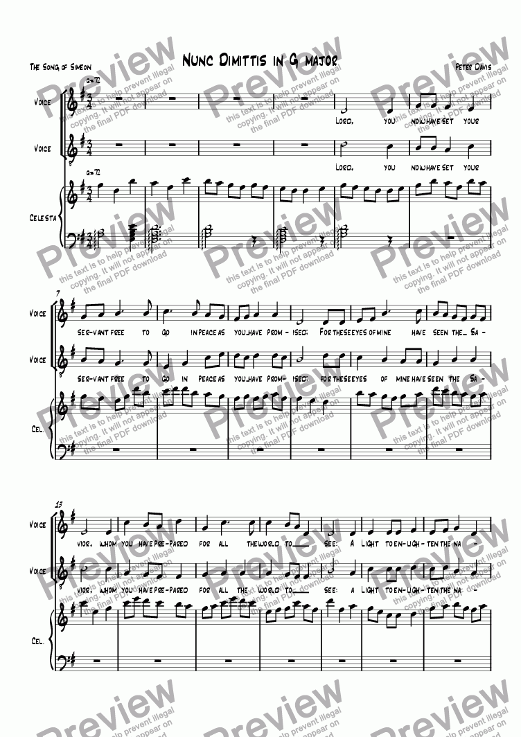 page one of Nunc dimittis in G major