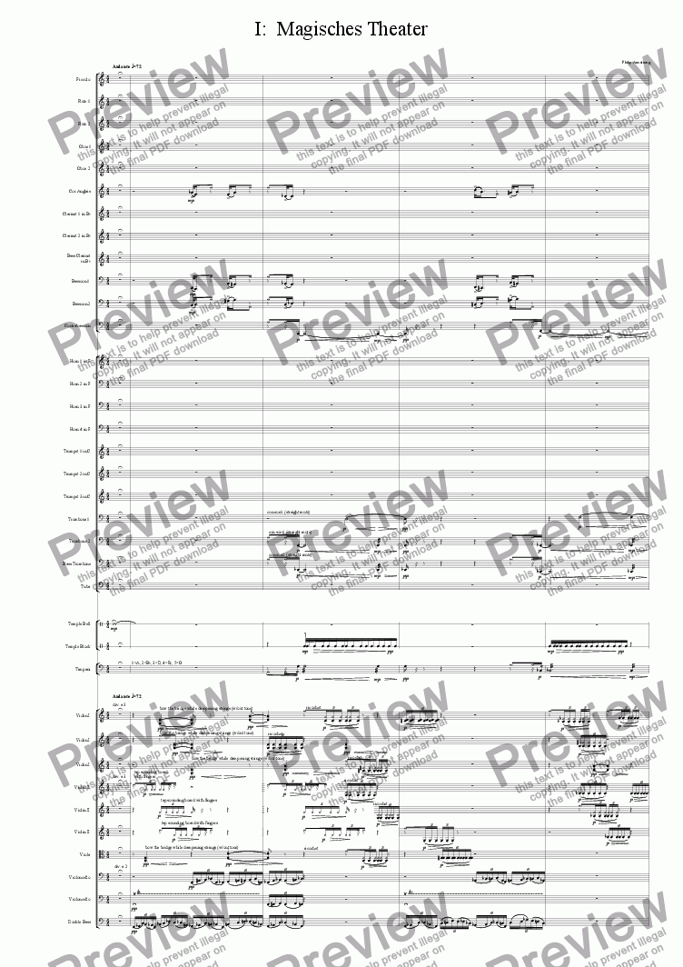 page one of Symphony Das Glasperlenspiel Movement 1