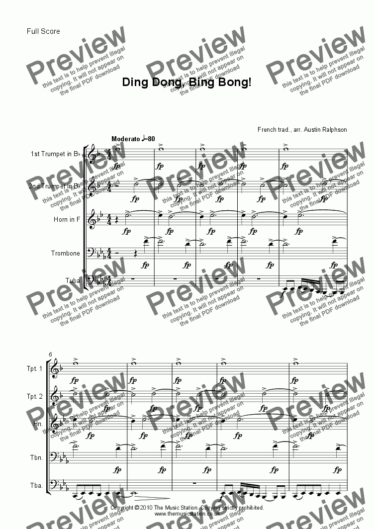 page one of Ding Dong, Bing Bong! - brass quintet