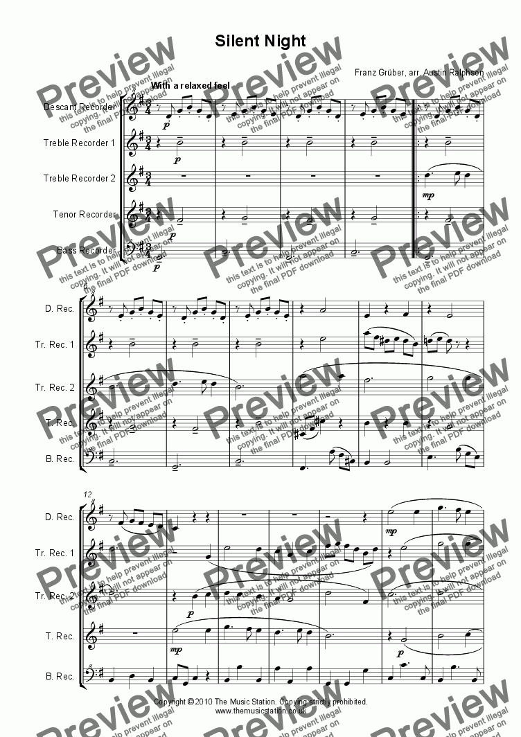 page one of Silent Night - recorder quintet