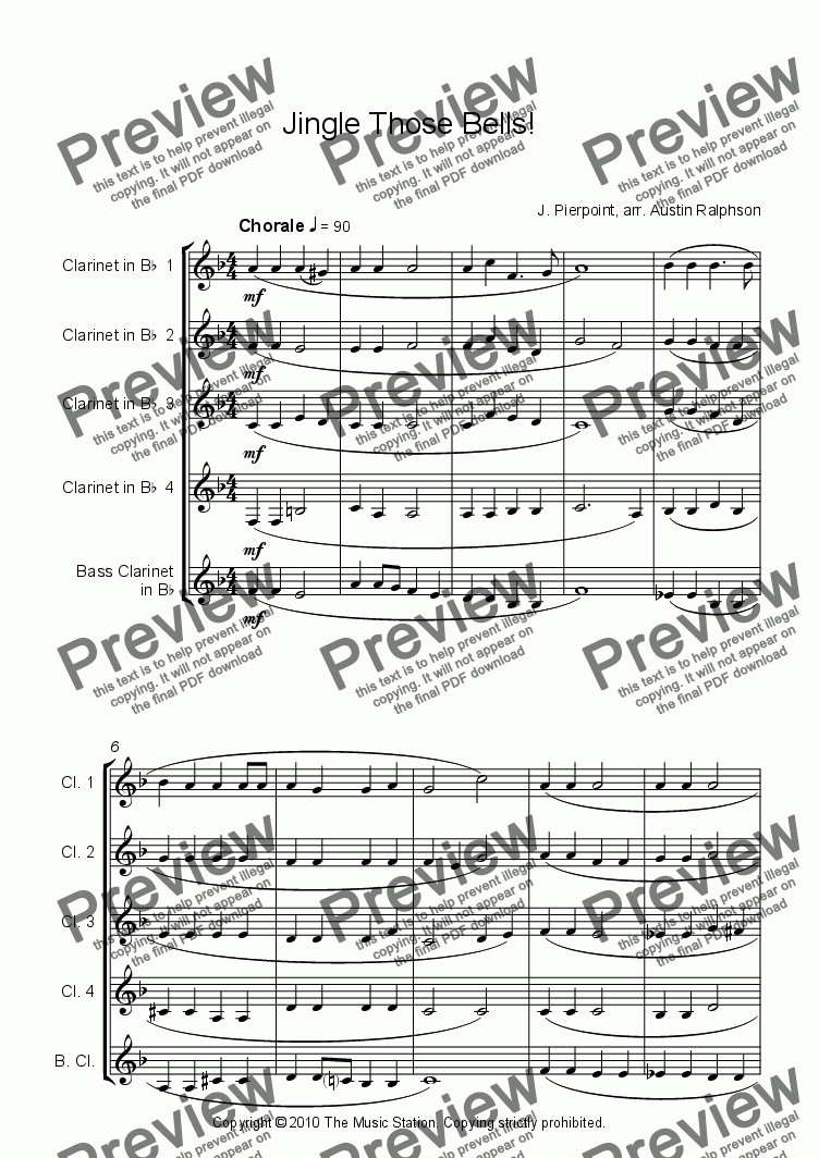 page one of Jingle Those Bells - clarinet quintet