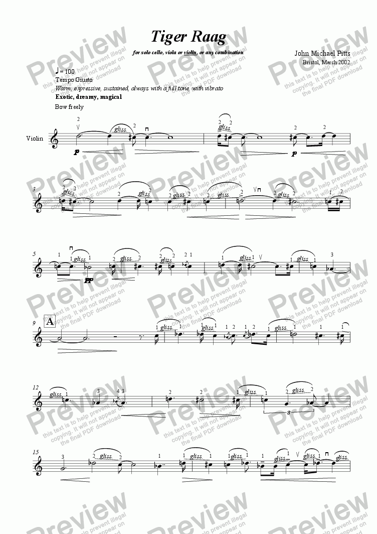 page one of Tiger Raag (solo violin) [2002]