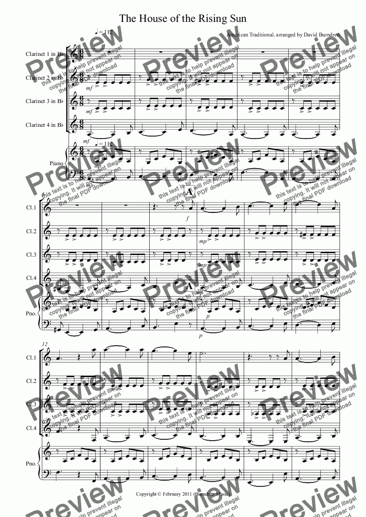 page one of House of the Rising Sun for Clarinet QuartetASALTTEXT