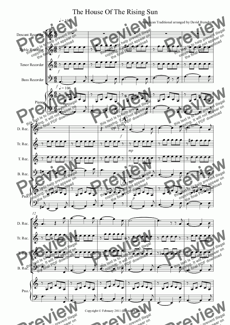 page one of House Of The Rising Sun for Recorder Quartet