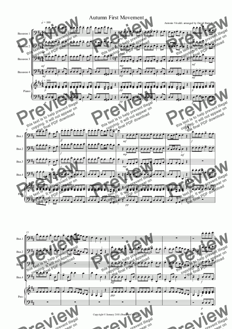 "page one of Autumn ""Four Seasons"" For Bassoon Quartet"
