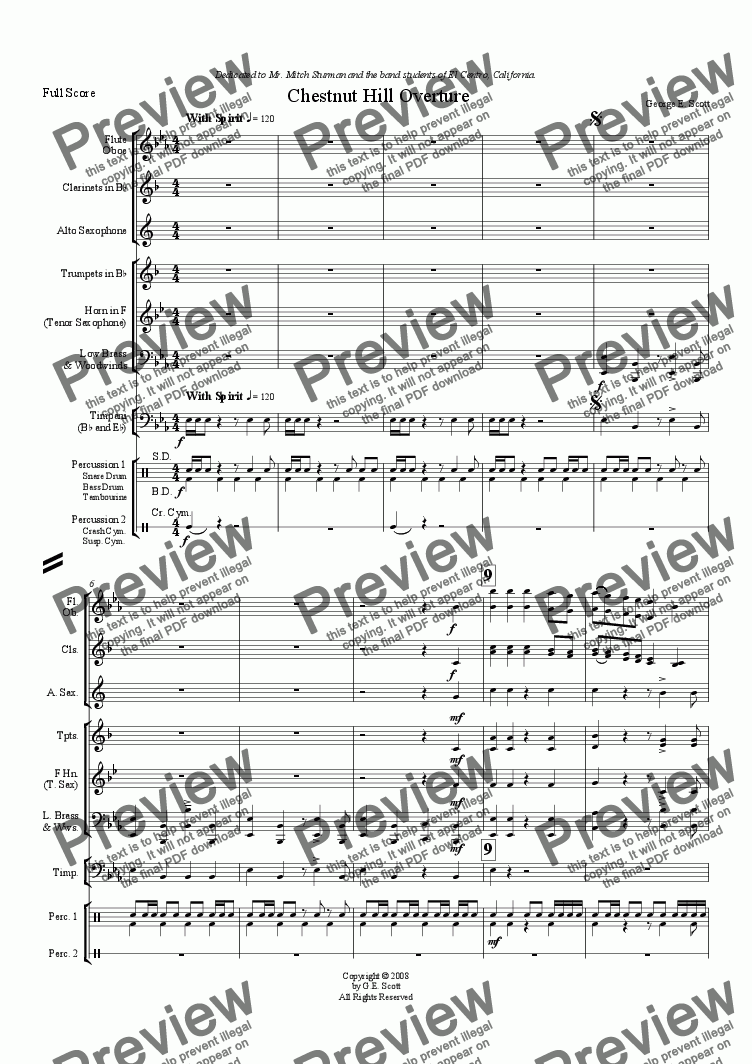 page one of Chestnut Hill Overture (Grade 1.5 Concert Band)