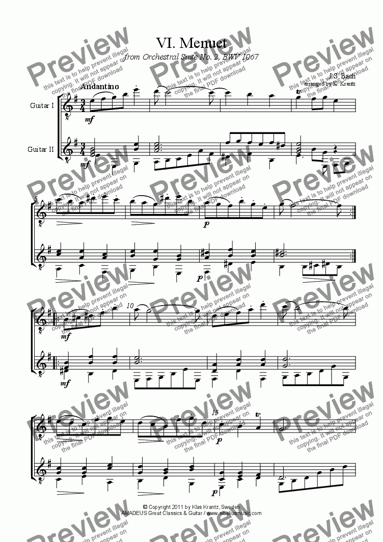 page one of Menuet from Orchestral Suite No. 2, BWV 1067 for guitar duet