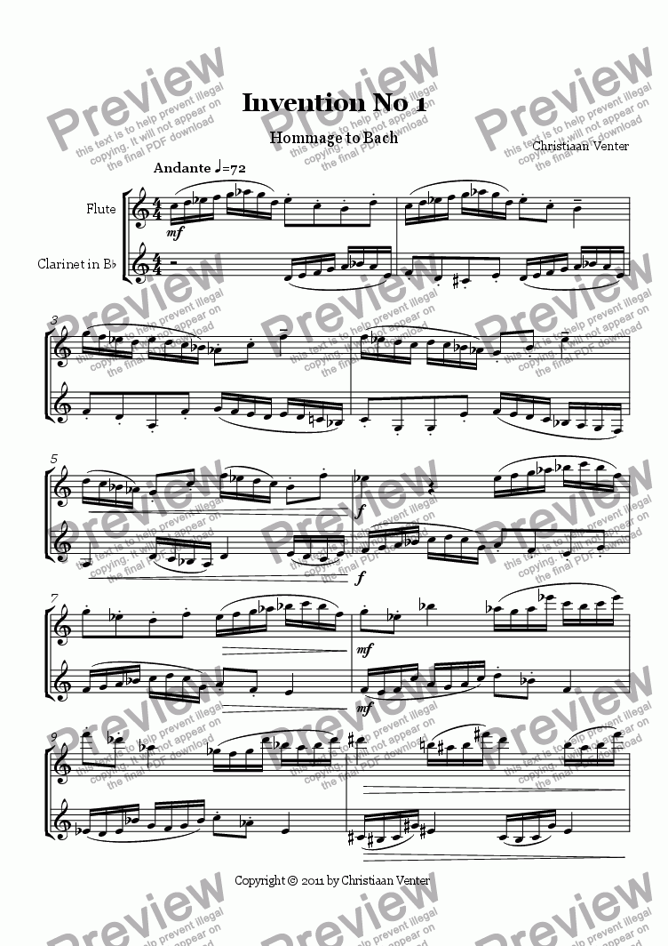 page one of Invention No. 1 - Hommage to Bach
