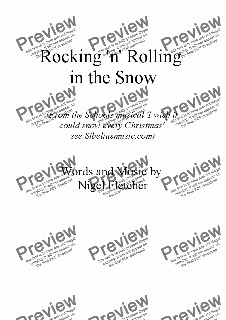 page one of Rock n' Roll in the snow