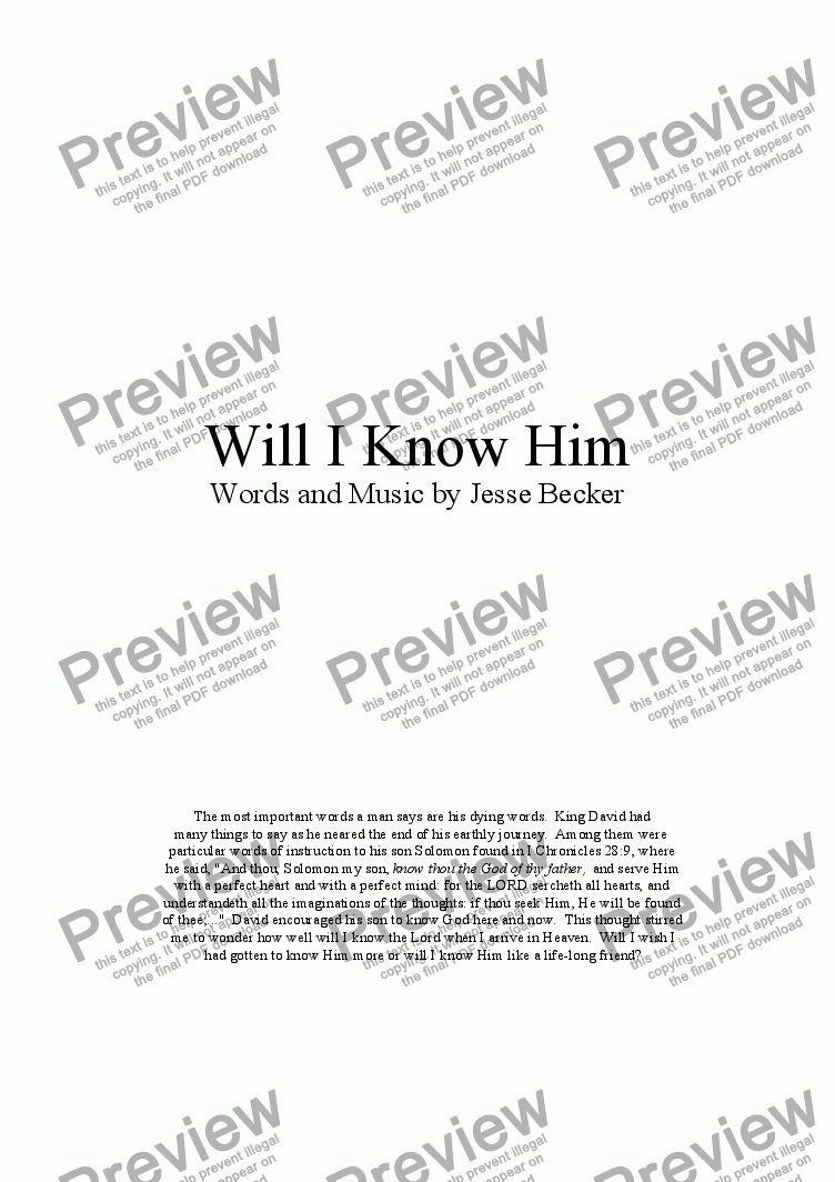 page one of Will I Know Him?ASALTTEXT