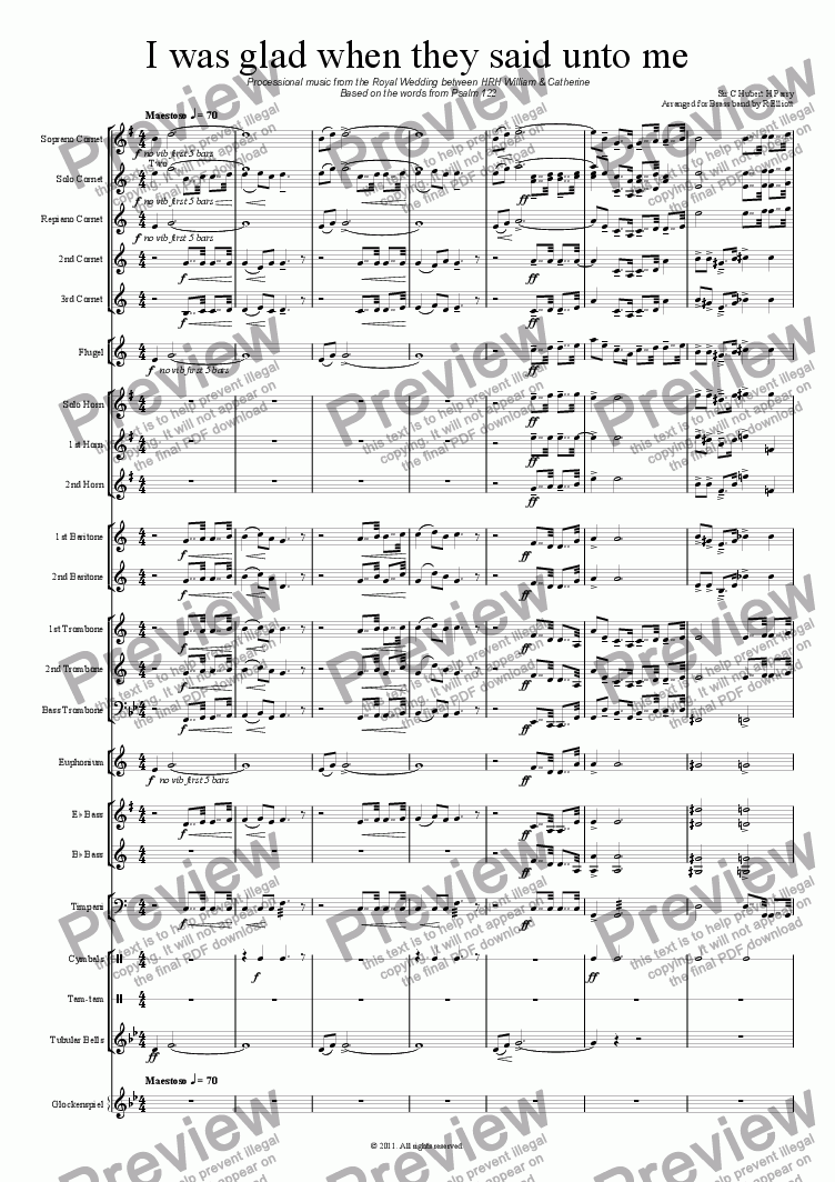 page one of I was glad - Processional music from the Royal Wedding between HRH William and Catherine for Brass Band
