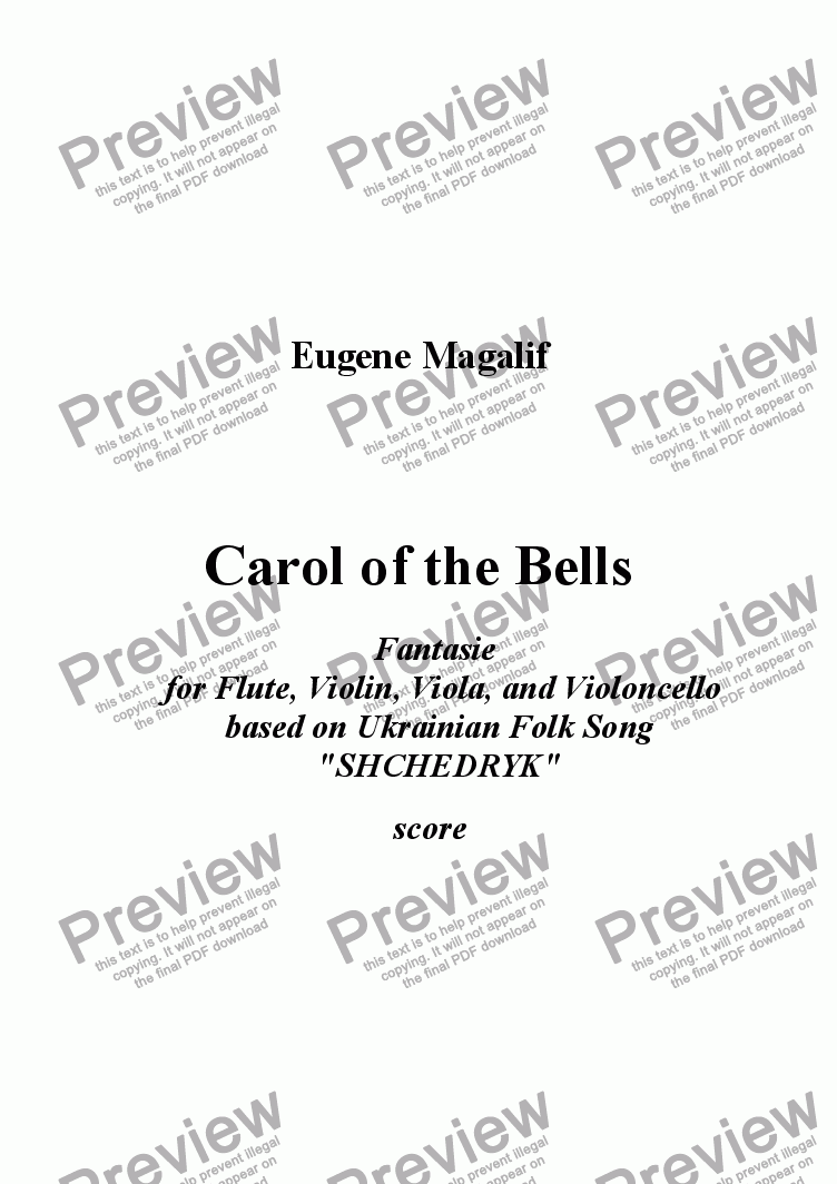 page one of CAROL OF THE BELLS. Flute, Violin, Viola, Cello