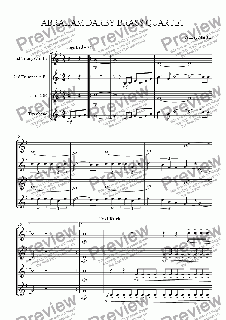 page one of Abraham Darby Brass Quartet