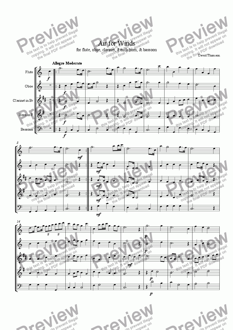 page one of Sonata for Winds, 1st Movement (moderato)