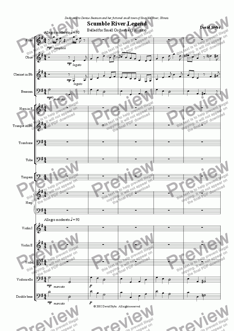 page one of Scumble River Legend, a Ballad for Small OrchestraASALTTEXT