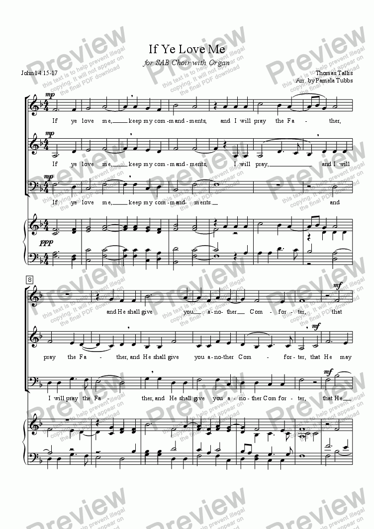 page one of If Ye Love Me (TALLIS) Eastertide Anthem for 3-part (SAB) mixed voices Choir with Organ accompaniment, arr. by Pamela Webb Tubbs