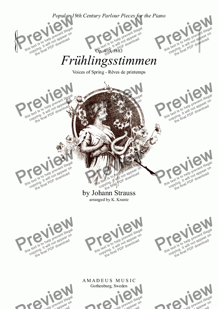 page one of Frühlingsstimmen / Voices of Spring for piano solo (C major)