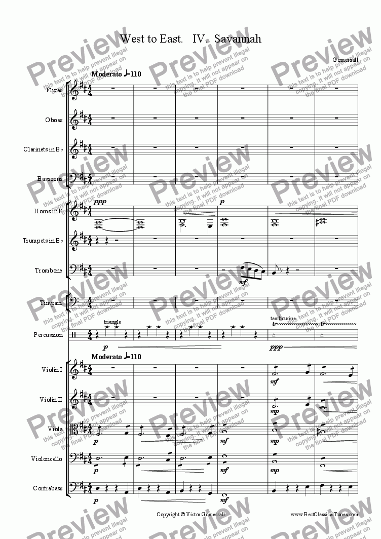 "page one of From West to East Op 9 - Suite for Orchestra - 4 -""Savannah"""
