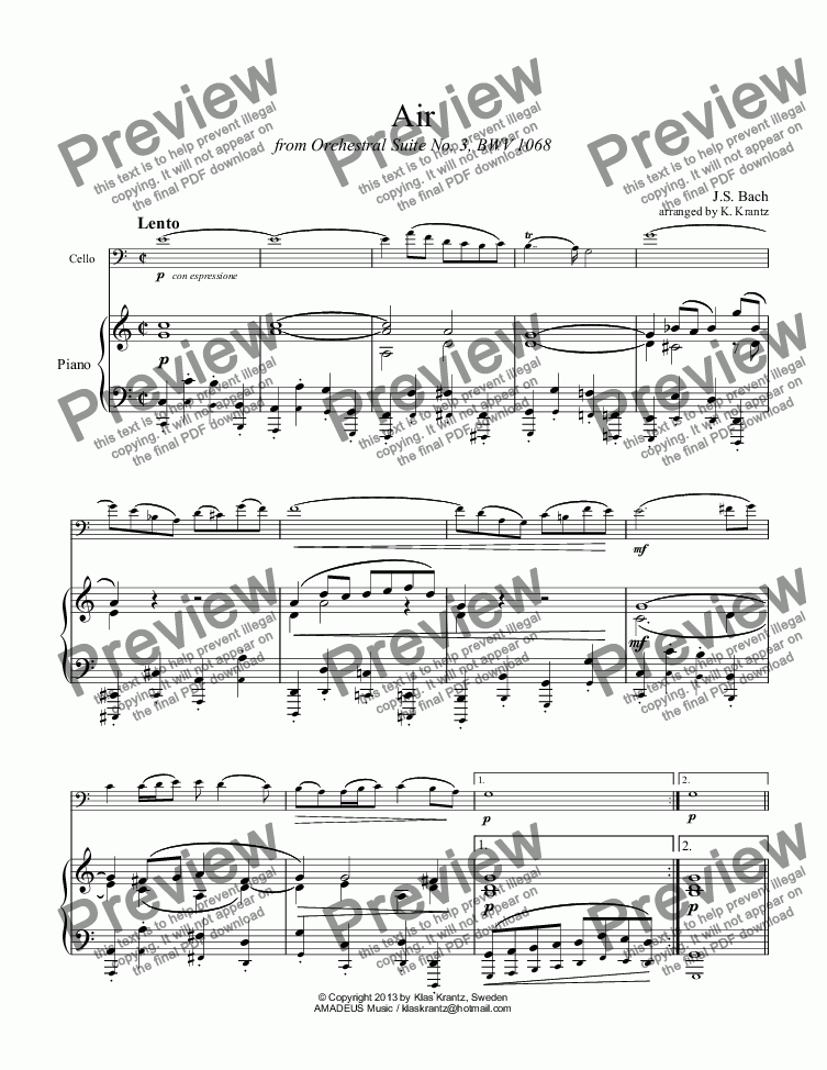 page one of Air from Orchestral Suite No. 3 for violoncello and piano
