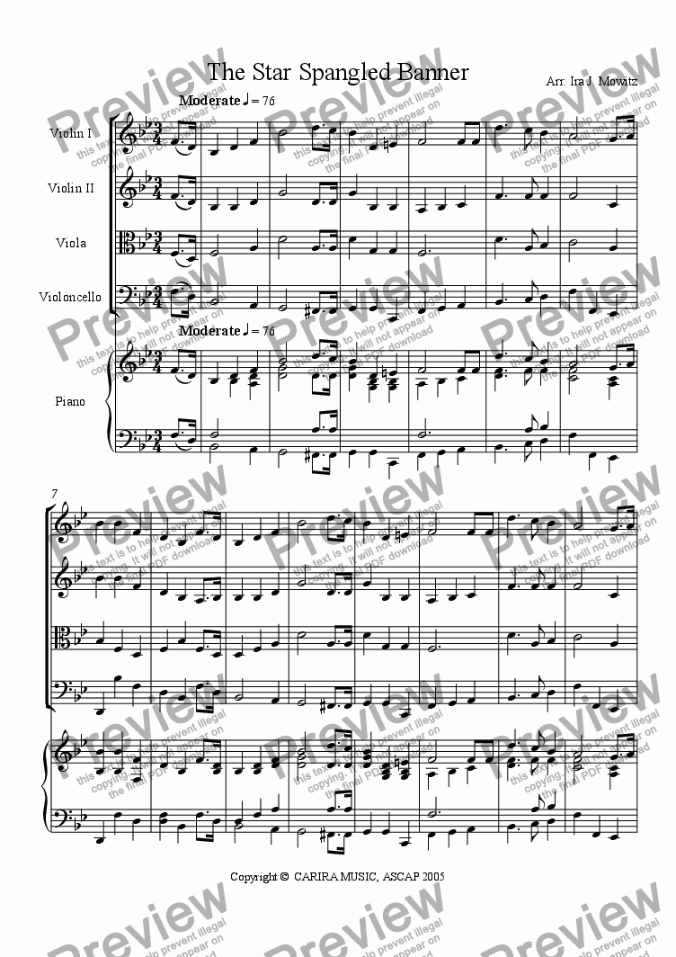 page one of The Star Spangled Banner (arr. for SQ with piano reduction)