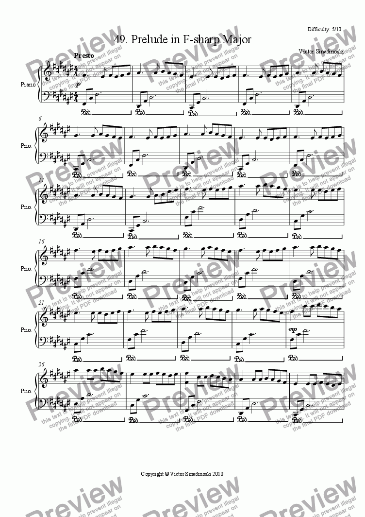 page one of Prelude in F-sharp Major