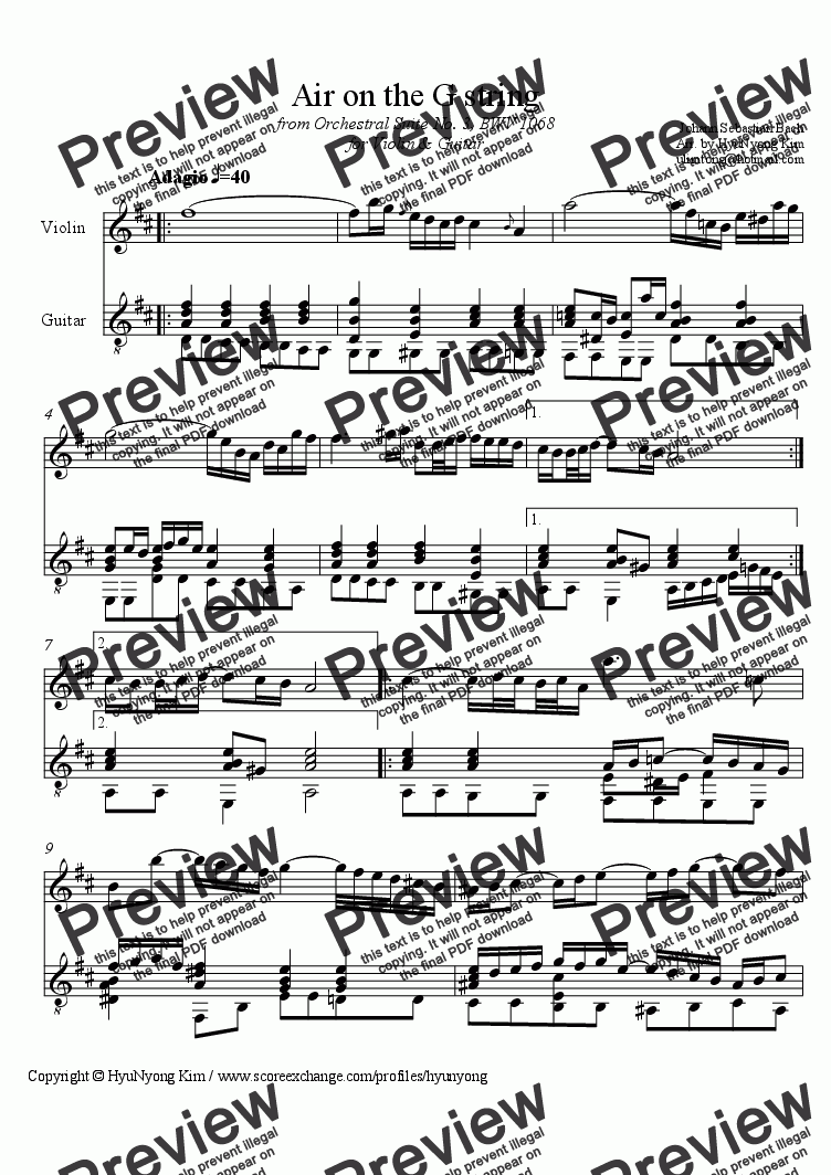 page one of Air on the G string from Orchestral Suite No. 3, BWV 1068 for Violin & Guitar
