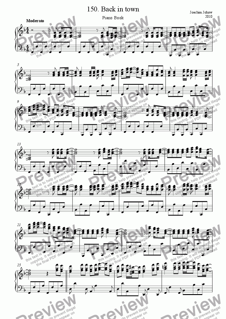 Piano Book 150 (Back in town) for Solo instrument (Piano) by Joachim Johow  - Sheet Music PDF file to download