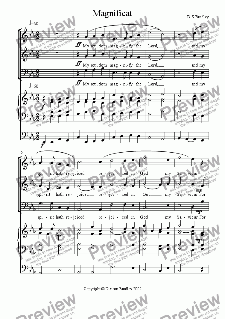 page one of Magnificat in E flat (3 parts)