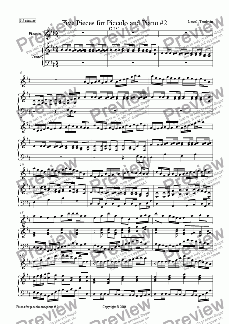 page one of Five Pieces for Piccolo and PIano # 2