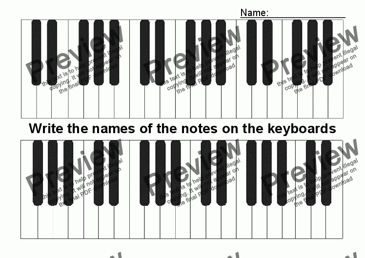 page one of ABC Worksheet 28: Name the Keys
