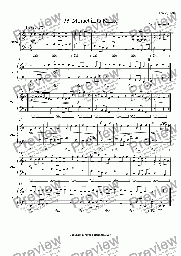 page one of Minuet in G Minor
