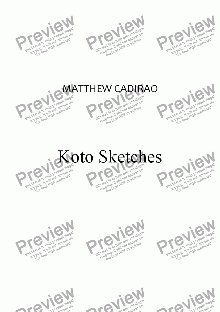 page one of Koto Sketches
